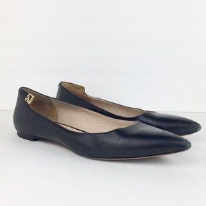 Tory Burch Elizabeth Black Leather Flat